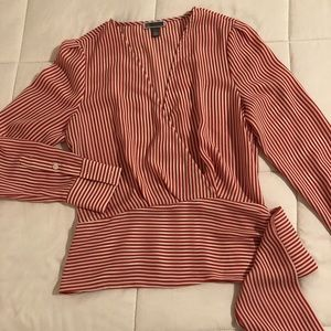 Chelsea 28 orange & white striped blouse. XS